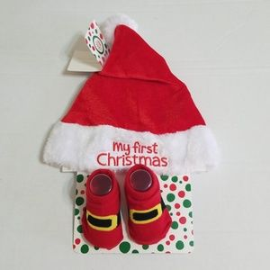 Little Me Accessories - My First Cristmas Hat   Booties Set 0-12 mos 7ee5ccc0cdf